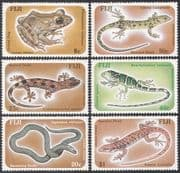 Fiji 1986  Frogs/ Lizards/ Nature/ Wildlife/ Amphibians/ Reptiles/ Animals  6v set  (n40437)