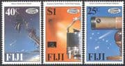 Fiji 1986 Halley's Comet  /  Space  /  Astronomy  /  Telescope  /  Palm Trees 3v set (n10592)