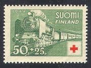 Finland 1944 Steam  /  Engine  /  Trains  /  Red Cross 1v (n24811)