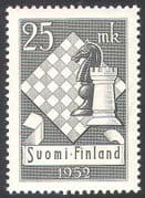 Finland 1952 Chess/ Pieces/ Board/ Sport/ Games/ Knight/ Horse/ Castle/ Rook 1v (n27380)
