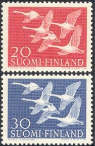 Finland 1956 Northern Countries Day/ Whooper Swans/ Birds/ Nature/ Animation2v set (b735a)
