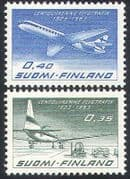 Finland 1963 Planes  /  Civil Aviation  /  Aircraft  /  Transport  /  Business 2v set (n40966)