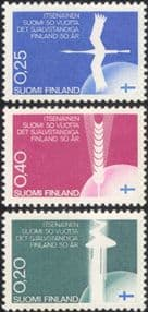 Finland 1967 Independence/ Swan/ Aurora/ Wheat/ Birds/ Nature/ Flags 3v set (n43007c)