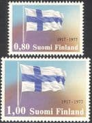 Finland 1977 Independence 60th Anniversary/ National Flag/ Politics/ Government 2v set (n23802k)