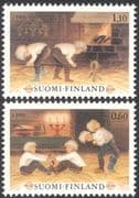 Finland 1980 Christmas/ Greetings/ Children's Games/ Fire/ Flames 2v set (n23802h)