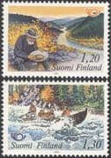 Finland 1983 Tourism/ Canoe/ Gold Miner/ River/ Forest/ Sports/ Transport/ Postal Co-operation/ Canoeing/ Boats 2v set (n13607m)