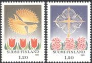 Finland 1985 Christmas/ Greetings/ Flowers/ Tulips/ Cross/ Nature/ Plants 2v set (n13607d)