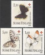 Finland 1986 Red Cross/ Butterflies/ Moths/ Medical/ Health/ Welfare 3v set (b9601)