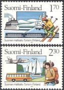 Finland 1987 Tourism/ Trains/ Rail/ Railway/ Ship/ /Boat/ Plane/ Aviation/ Bus/ Motoring/ Skiing/ Walking/ Transport/ Sports 2v set (n24846)