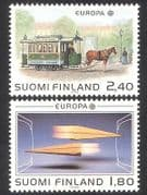 Finland 1988 Europa  /  Communications  /  Horse  /  Tram  /  Transport  /  Computer 2v set (n39080)