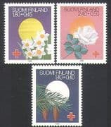 Finland 1988 Red Cross  /  Health  /  Welfare  /  Flowers  /  Festivals  /  Rose  /  Plants 3v (n36094)