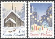 Finland 1989 Christmas/ Greetings/ Sodankyla Church/ Birds/ Candles/ Buildings/ Architecture 2v set (n23802j)