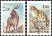 Finland 1989 Helsinki Zoo 100th/ Snow Leopard/ Markhor Goat/ Animals/ Nature/ Wildlife/ Conservation/ Cats 2v set (b735e)