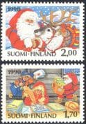 Finland 1990 Christmas/ Greetings/ Santa Claus/ Reindeer/ Brownies/ Elves/ Animals/ Nature 2v set (s143g)