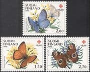 Finland 1990 Red Cross/ Butterflies/ Insects/ Health/ Nature/ Flowers 3v set (n32554)