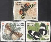 Finland 1992 Red Cross/ Braille/ Butterflies/ Moths/ Medical/ Insects/Nature/ Blind/ Blindness 3v set (b9602)