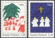 Finland 1993 Christmas/ Greetings/ Angels/ Tree/ Star/ Brownies 2v set (s143m)