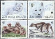 Finland 1993 WWF/ Arctic Fox/ Endangered Animals/ Nature/ Wildlife/ Conservation 4v set blk (s4559k)