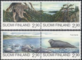 Finland 1995 Endangered Animals/ Seal/ Lynx/ Nature/ Cats/ Wildlife/ Conservation/ Environment 4v set (n44042)