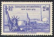 France 1939 (1940 issue) New York World Fair/ EXPO/ Statue of Liberty/ Pavilion/ Tower/ Buildings/ Architecture 1v (n41430)