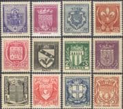 France 1941-1942 French Towns Coats-of-Arms/ Design/ Art/ History/ Relief Fund  12v set (n46024a)