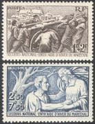 France 1941 Winter Relief Fund  /  Health  /  Welfare/ Charity/ Cart/ Transport 2v set (n30584)