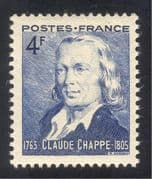 France 1944 Claude Chappe/ Semaphore Telegraph/ Communications/ People/ Inventors 1v (n33423)