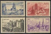 France 1945 WWII  /  War  /  Towns  /  Buildings  /  Churches 4v n31459