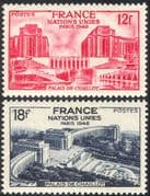 France 1948 UN/ United Nations/ Peace/ Buildings/ Palace/ Architecture 2v set (n33121)
