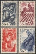 France 1949 Foundry Workers/ Steel Mill/ Coal Mining/ Miner/ Farmer/ Ploughing/ Tractor/ Fisherman 4v set (n31461)