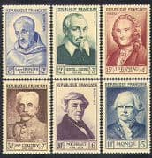 France 1953 Red Cross Fund  /  Famous People  /  Military  /  Music  /  Science 6v set (n36940)