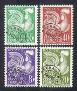 France 1954 (1959) Pre-cancel  /  Cockerel  /  Birds  /  Nature  /  Emblem 4v set (n37313)