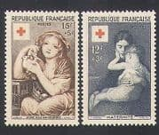 France 1954 Art  /  Paintings  /  Red Cross Fund  /  Health  /  Welfare  /  Doves  /  Birds 2v (n36061)