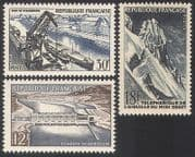 France 1956 Boats  /  Cranes  /  Cable Car  /  Hydro-electric Barrage  /  Transport 3v (n40724)