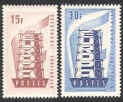 France 1956 Europa  /  Coal Mining  /  Steel  /  Construction  /  Animation 2v set (n39355)