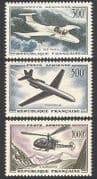 France 1957 Planes  /  Helicopter  /  Aviation  /  Transport  /  Flight  /  Jet 3v set (n40608)