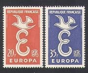 France 1958 Europa  /  Dove  /  Animation  /  Birds 2v set (n35060)