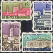 France 1958 Municipal Reconstruction/Towns/ Buildings/ Architecture/ Clock Tower 4v set (n41961)