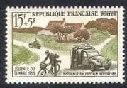 France 1958 Post  /  Mail  /  Motorbike  /  Car  /  Bike  /  Postal Transport  /  Motorcycle 1v (n23236)