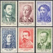France 1958 Red Cross Fund/ People/ Writers/ Artists/ Sculptors/ Art/ Sailor/ Pirate/ Books/ Literature/ Painters 6v set (n44040)