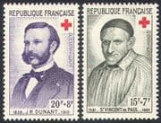 France 1958 Red Cross/ St Vincent/ Henri Dunant/ Medical/ Health 2v set (n20395)