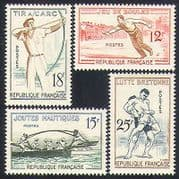 France 1958 Sports  /  Games  /  Archery  /  Wrestling  /  Boules  /  Jousting 4v set (n32925)