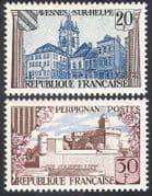 France 1959 Buildings  /  Architecture  /  Castle  /  Clock Tower 2v set (n33101)