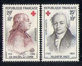 France 1959 Red Cross  /  Medical  /  Health  /  Abbe de l'Epee  /  Hauy  /  People 2v set (n27714)