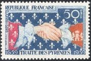 France 1959 Treaty of the Pyrenees/ Clasped Hands/ People/ History/ Heritage/ Coats-of-Arms 1v (n44208)