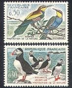 France 1960 Birds  /  Conservation  /  Puffins  /  Bee-eaters  /  Nature  /  Wildlife 2v set n24252