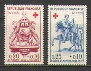 France 1960 Red Cross  /  Health  /  Horses  /  Carving 2v (n20396)