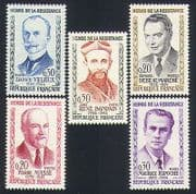 France 1960 War Heroes  /  Military  /  People  /  Resistance Fighters  /  WWII 5v set (n32922)