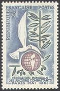 France 1961 Dove  /  Birds  /  Military  /  Peace  /  Globe/ Soldiers/ Veterans 1v (n31116)