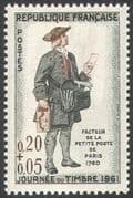 France 1961 Stamp Day  /  Postman/ Uniforms / Post/  Mail  /  Animation 1v n30585